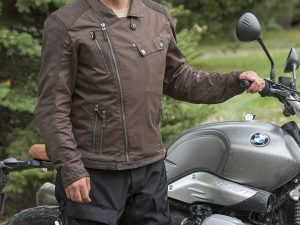 Modeling BMW's new San Diego jacket for an upcoming review in Rider…