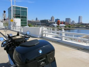 Approaching the Harley-Davidson Museum in Milwaukee, WI