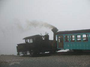 The Mount Washington Railway locomotive departing back down….
