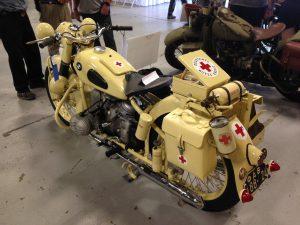 Rear view of moto-ambulance