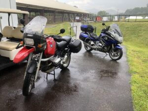 My friend Chris' classic GS and my bike, soaked to the bone