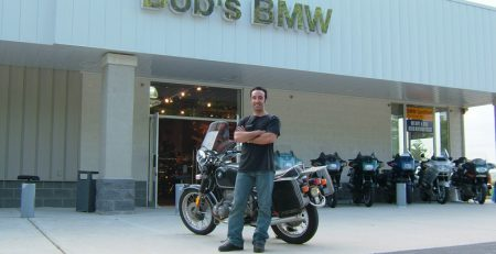 The faithful R90/6 and I at Bob's BMW in Gessup, MD, on the way down to Baltimore.