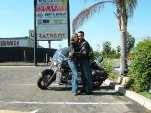 Terri and I picking up our Heritage Softail Classic at Easyriders.