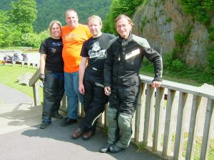 "My riding partners – Jessica, Banzai, ""Barefoot Travelin' Whoremonger"" Rob, & The (Barely) Living Legend Manhattan Mark"