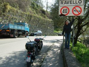Entering Ravello – we were fascinated by the odd European warning signs