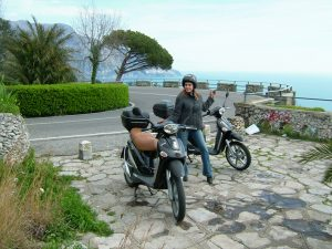 Ready to travel Italy's fabled Amalfi Coast from Sorrento to Salerno, via rented black Piaggios!