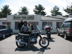 With friends Drew and Barbara at the Brass Ring Cafe in April. This was my last ride on my 1974 BMW R90/6 before it was sold.