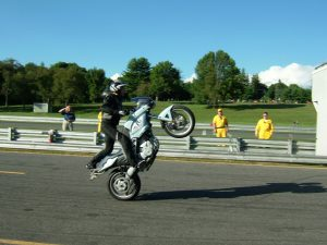 World-famous BMW stunt rider Jean-Pierre Goy doing his thing on an F-bike. Amazing!