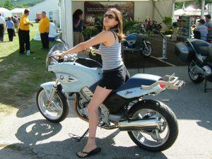 Terri aboard Jean-Pierre's F-bike.