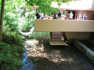 View of Fallingwater's breathtaking entrance from the waterfall.