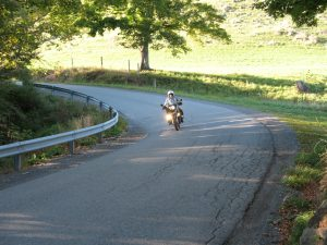 Jim demonstrates proper entry into a sharp, decreasing radius and off camber turn