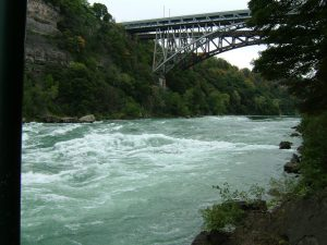 The Niagara River's Class 5 rapids as seen from White Water Walk