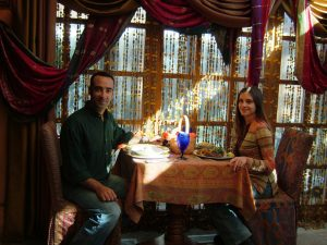 Terri and I dining at Kafe Kabul – what an experience!