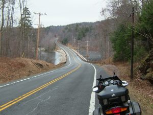 A brief detour through NY's Route 28 – Seventh Lake is shown in the distance