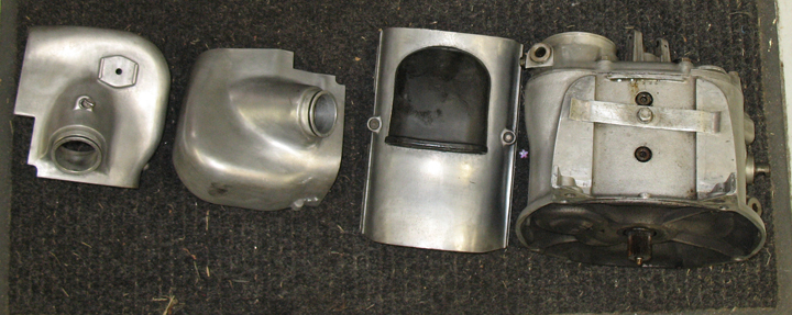Some Of The Oxidized Aluminum Parts Going Out For Polishing (L-pic) and Covers & Tranny Removed (R-pic) 12-30-08